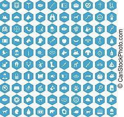 100 dog icons set blue