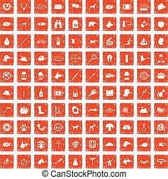 100 dog icons set grunge orange