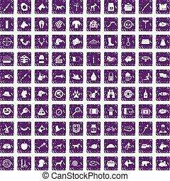 100 dog icons set grunge purple