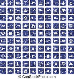 100 dog icons set grunge sapphire