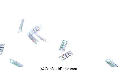 100 Dollar banknotes rain 1920 x 1080p HD video