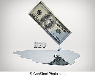 100 Dollar bill drips fresh water