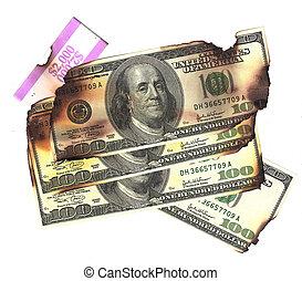 100 dollar bills burned financial loss recession depression risk