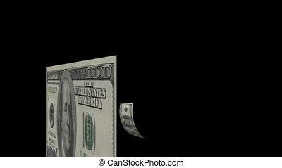 $100 Dollar Bills Flying