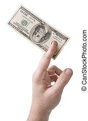 100 dollar bills in the hand