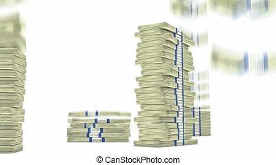 100 dollar bundles stacks falling