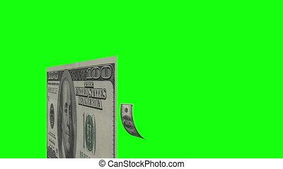 $100, dollar, flying., vert, factures, scr