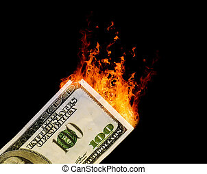 100 Dollar USA Bill Catching on Fire
