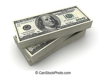 $100, dollari, effetti, americano, pila