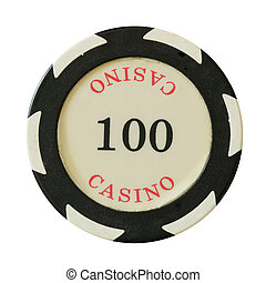 100 dollars casino chip isolated over white background