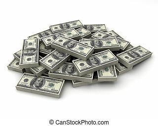 $100, dollars, factures, pile, millions