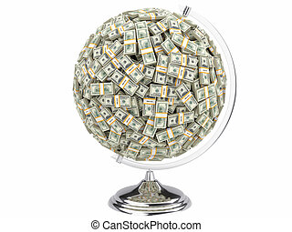 100 dollars globe on white isolated