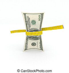 100 dollars money in measuring tape 3d illustration