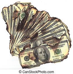 100 dollars rekeningen, gebrande, financieel verlies,...