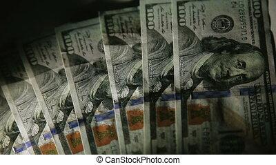 100 dollars slide macro shot of Franklin