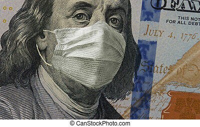 100 dollars with medical face mask on Franklin face. Concept of the global financial crisis. COVID-19, coronavirus in USA