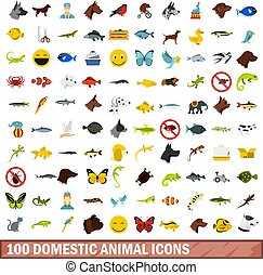 100 domestic animal icons set, flat style