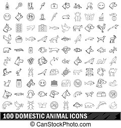 100 domestic animal icons set, outline style