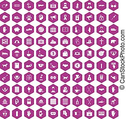 100 donation icons hexagon violet