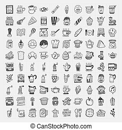 100 doodle coffee element icons set