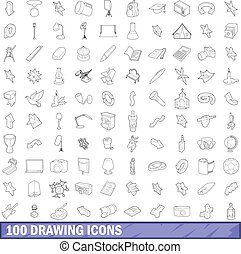 100 drawing icons set, outline style