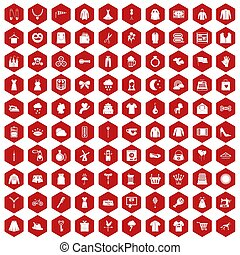 100 dress icons hexagon red
