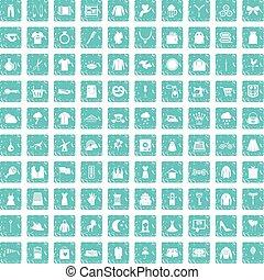 100 dress icons set grunge blue