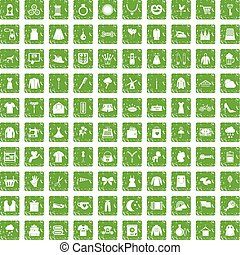100 dress icons set grunge green