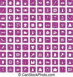 100 dress icons set grunge pink