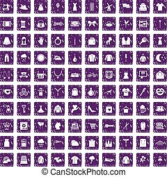 100 dress icons set grunge purple