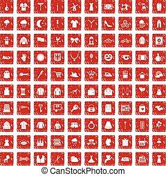 100 dress icons set grunge red