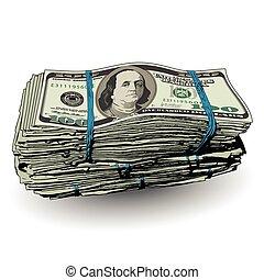100, dzioby, dolar, stóg, tłuszcz