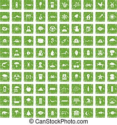 100 earth icons set grunge green