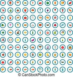 100 eating icons set, cartoon style