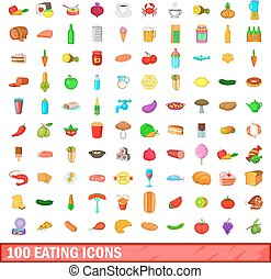 100 eating icons set, cartoon style