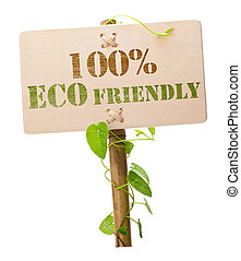 100% eco friendly green sign - eco friendly sign message on...