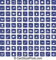 100 eco icons set grunge sapphire