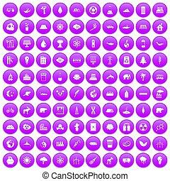 100 eco icons set purple