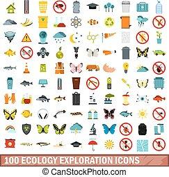 100 ecology exploration icons set, flat style