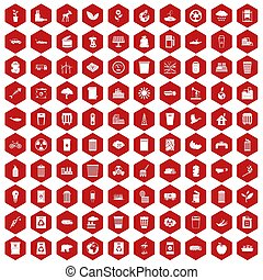 100 ecology icons hexagon red