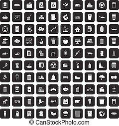 100 ecology icons set black