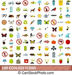 100 ecology icons set, flat style