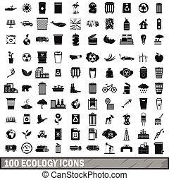 100 ecology icons set, simple style