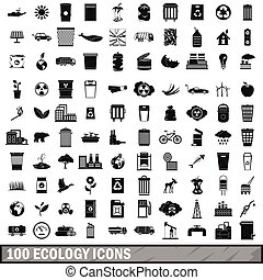 100 ecology icons set, simple style