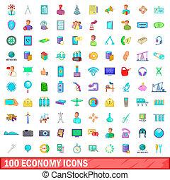 100 economy icons set, cartoon style
