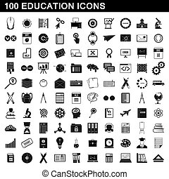 100, education, icônes, ensemble, simple, style