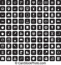 100 education icons set black