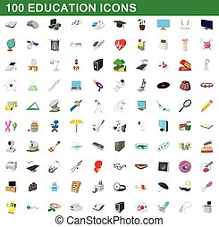 100 education icons set, cartoon style