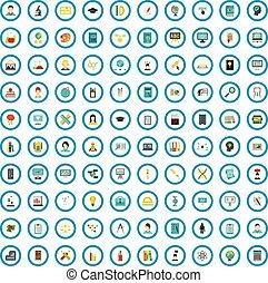 100 education icons set, flat style