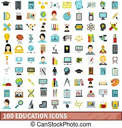 100 education icons set, flat style